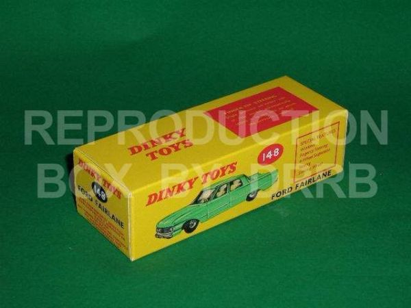 Dinky #148 Ford Fairlane - Reproduction Box ( Various shades of Green )